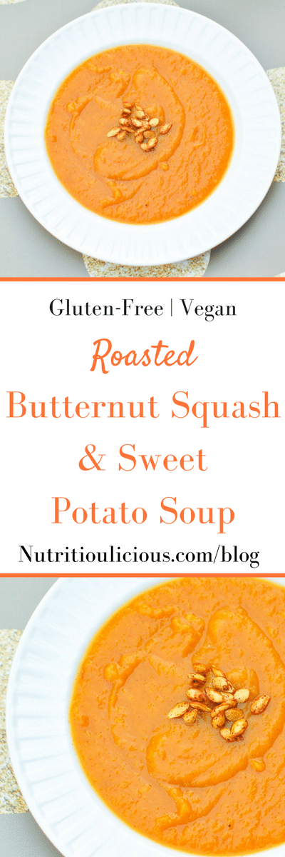 Roasted Butternut Squash Sweet Potato Soup | Butternut squash soup is made even creamier by roasting it with sweet potatoes in this vegan and gluten-free version that's sweetened with maple syrup and seasoned with warming winter spices. Get the recipe @jlevinsonrd.