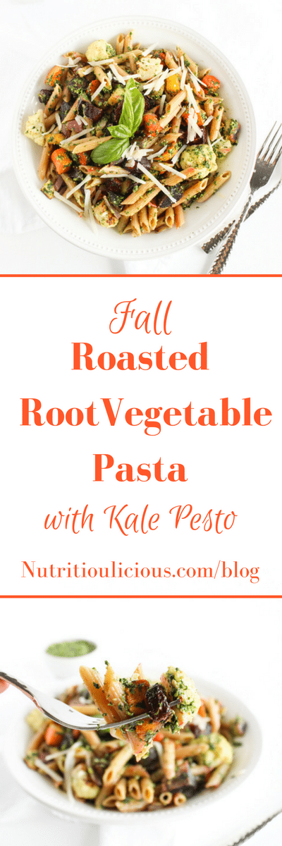 Fall Roasted Root Vegetable Pasta with Kale Pesto | Sweet potatoes, beets, carrots, parsnip, and cauliflower are roasted and tossed with whole wheat pasta and kale pesto in this hearty and nutritious one-bowl meal. A perfect way to celebrate the flavors of the fall season. Get the recipe @jlevinsonrd.