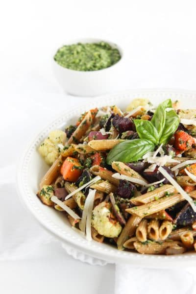 Roasted root vegetable pasta with pesto is a hearty and nutritious one-bowl meal. A perfect way to celebrate the flavors of the fall season. Get the vegetarian recipe at Small Bites by Jessica.