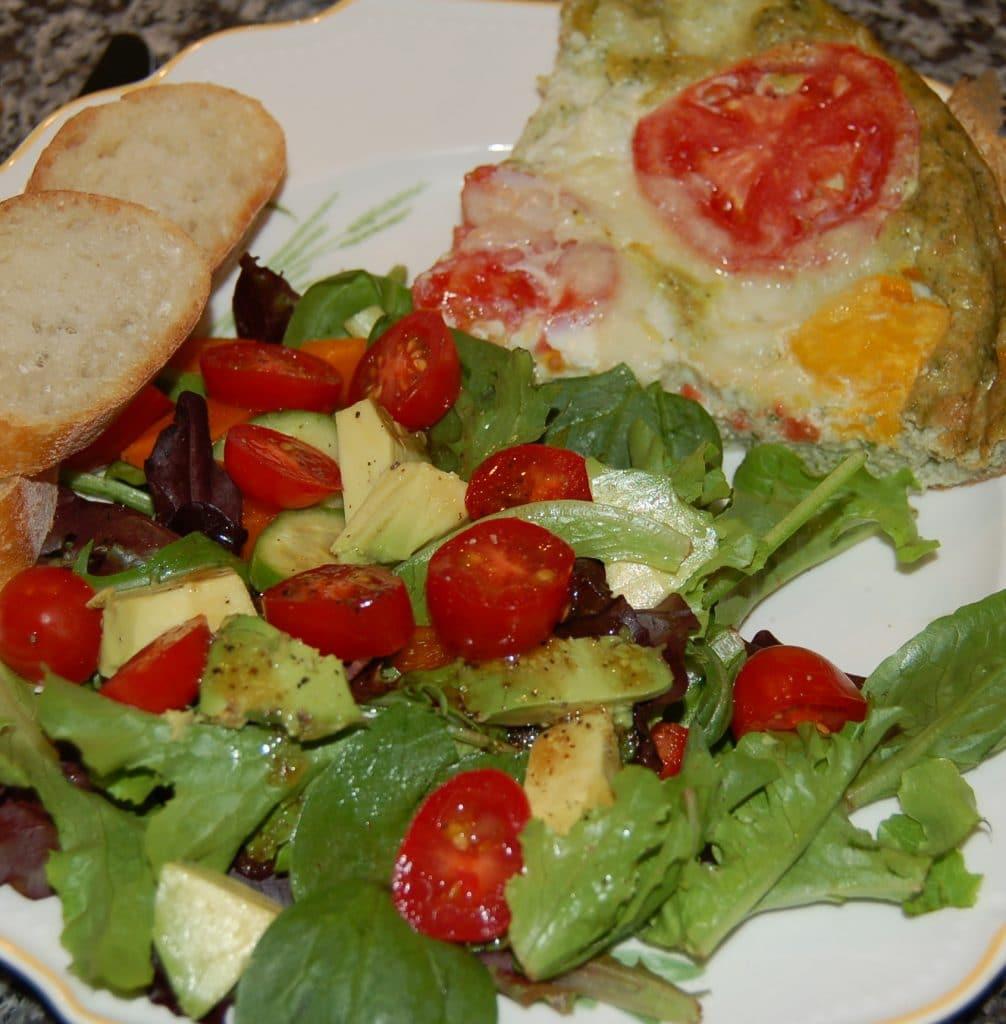 Tomato-Basil Mozzarella Frittata Dinner