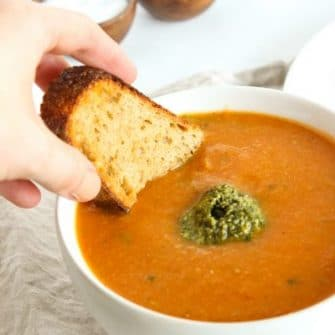Tomato White Bean Soup with Kale Pesto | Nutritioulicious