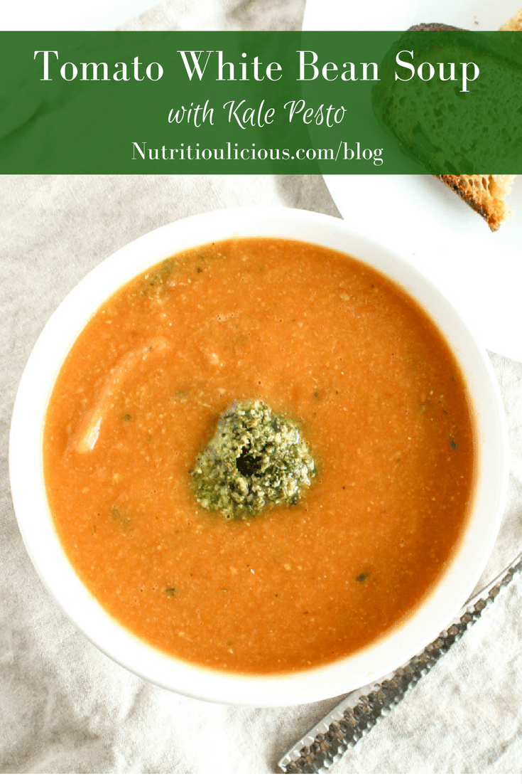Tomato White Bean Soup with Kale Pesto   Warm up this fall and winter with a bowl of tomato white bean soup topped off with a dollop of kale pesto. Vegetarian, Vegan-friendly, Gluten-Free. Get the recipe @jlevinsonrd.