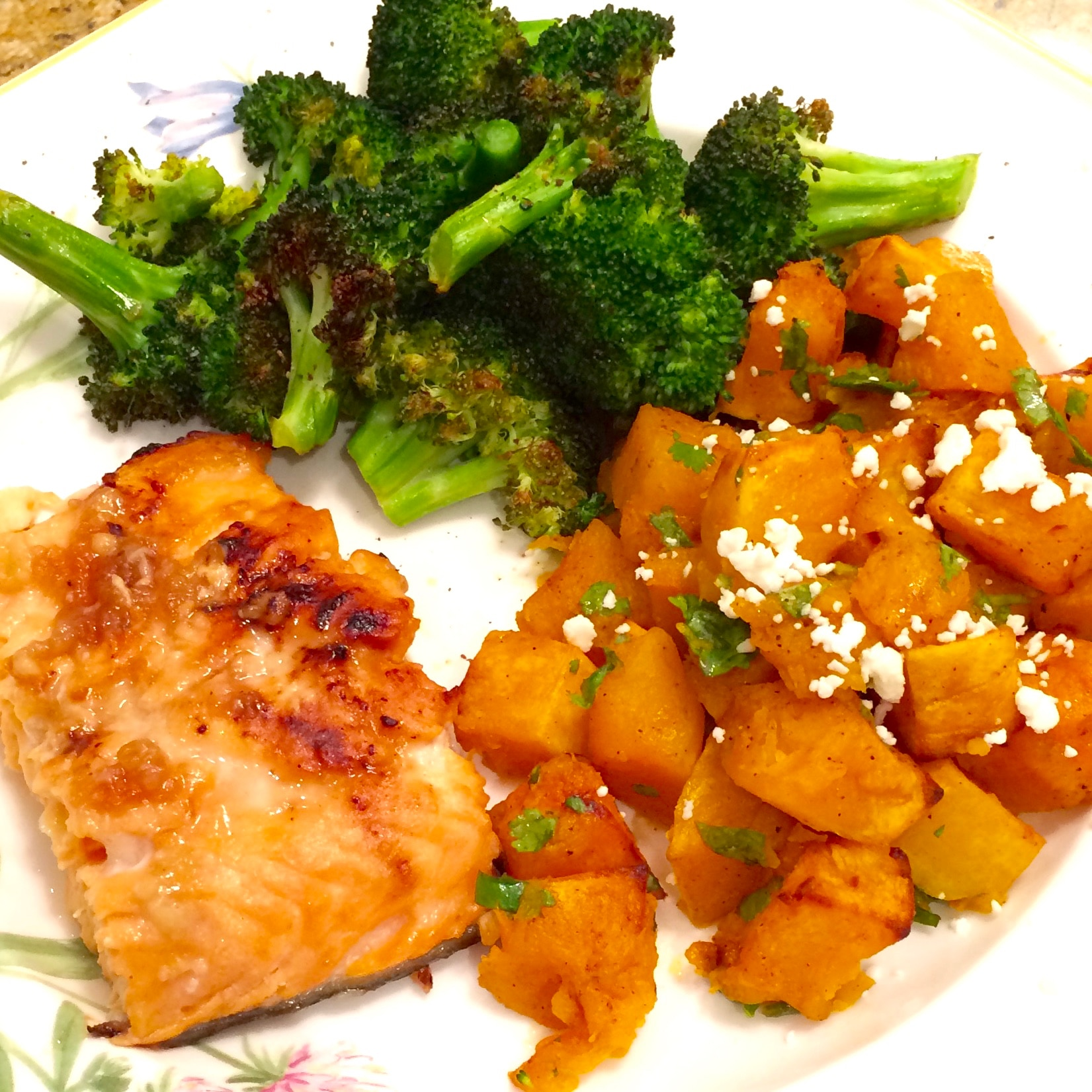 miso salmon with chili-lime roasted butternut squash