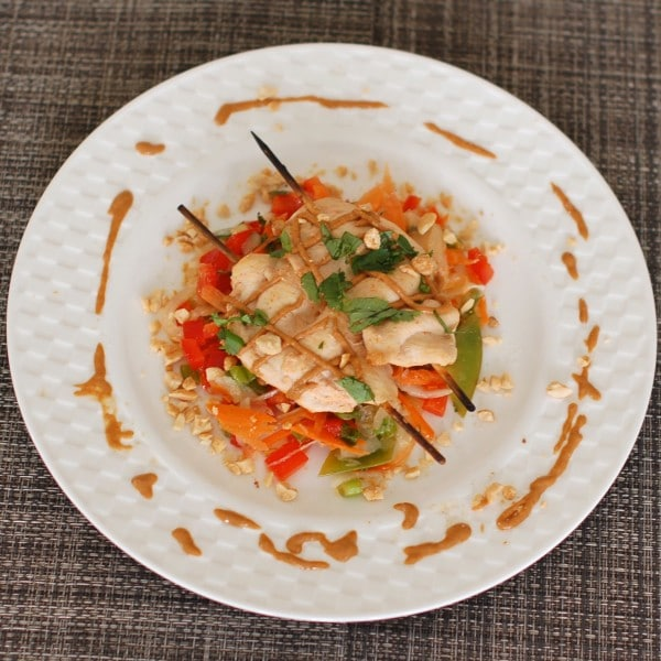 Bed of Thai Citrus Salad under peanut chicken satay makes for a Nutritioulicious balanced plate!