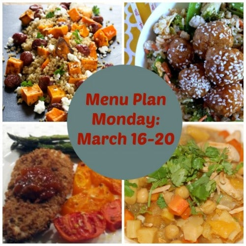 Recipes featured in this week's Menu Plan Monday: butternut squash quinoa, Spicy Asian Meatballs, panko chicken, Moroccan chicken