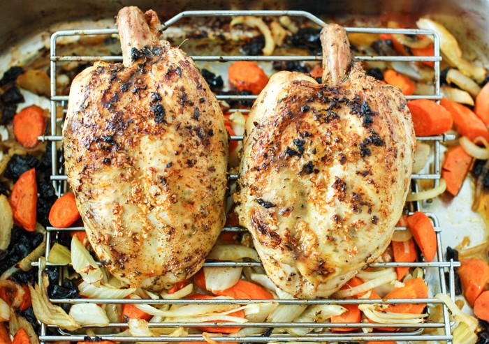 Juicy, savory, and flavorful roasted chicken with fennel, carrots, onions, and dried plums is easy enough for a weeknight meal and elegant enough for company. Also a great recipe for leftovers - if there are any! Get the gluten-free and dairy-free recipe @jlevinsonrd.