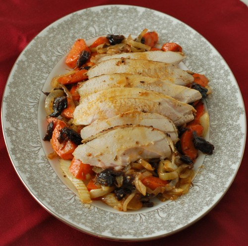 Roasted Chicken with Fennel, Carrots, & Dried Plums
