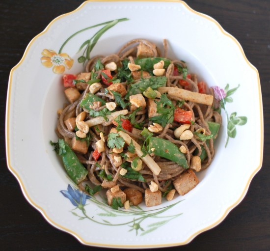 Peanut Soba Noodles combine pantry staples to make a healthier version of a classic takeout favorite. Add in some seasonal vegetables and crispy baked tofu for a balanced meal your family will ask for over and over again!