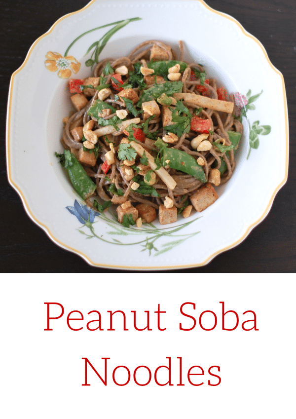 Peanut Soba Noodles with Crispy Tofu and Spring Vegetables | Sweet and slightly spicy peanut sauce tossed with buckwheat soba noodles, oven-baked crispy tofu, and spring vegetables is a meal your family will ask for over and over again! Get this vegan recipe @jlevinsonrd.