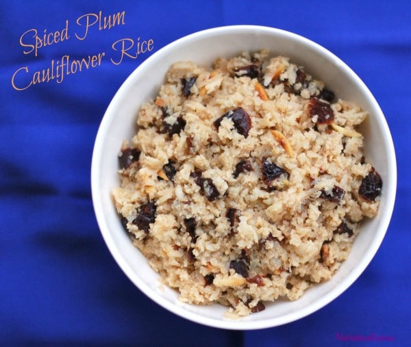 Spiced Plum Cauliflower Rice is full of flavor and nutrition. A Nutritioulicious side dish to support healthy bones. @JLevinsonRD #AD