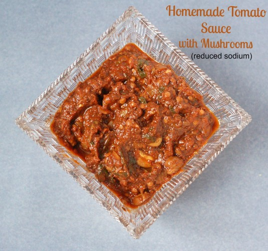 Mushrooms, balsamic vinegar, and tomato paste join together to add a rich, deep umami flavor to this homemade tomato sauce that's lower in sodium than most store-bought varieties. @JlevinsonRD