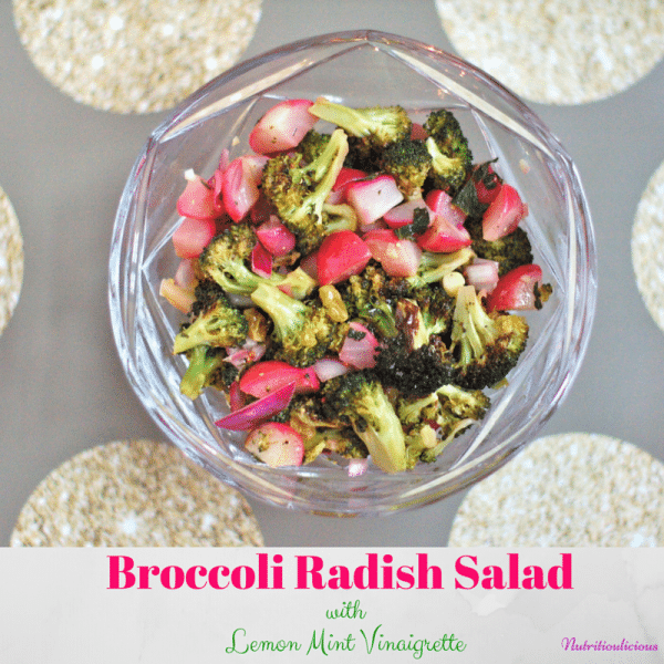 Roasted broccoli and radishes come together in this quick and easy weeknight salad that has some savory and sweet flavors and a bit of zing from the lemon mint vinaigrette. @JlevinsonRD