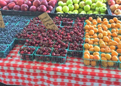 cherries, blueberries, and apricots at local farmers market in New Rochelle, NY