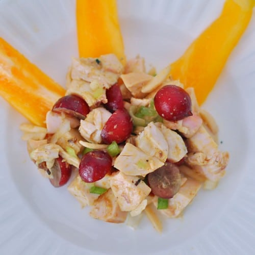 Turn leftover chicken into chicken salad with Thai flavors, juicy sweet grapes, and crunch from slivered almonds. Dairy-free, gluten-free, mayo-free. @jlevinsonRD