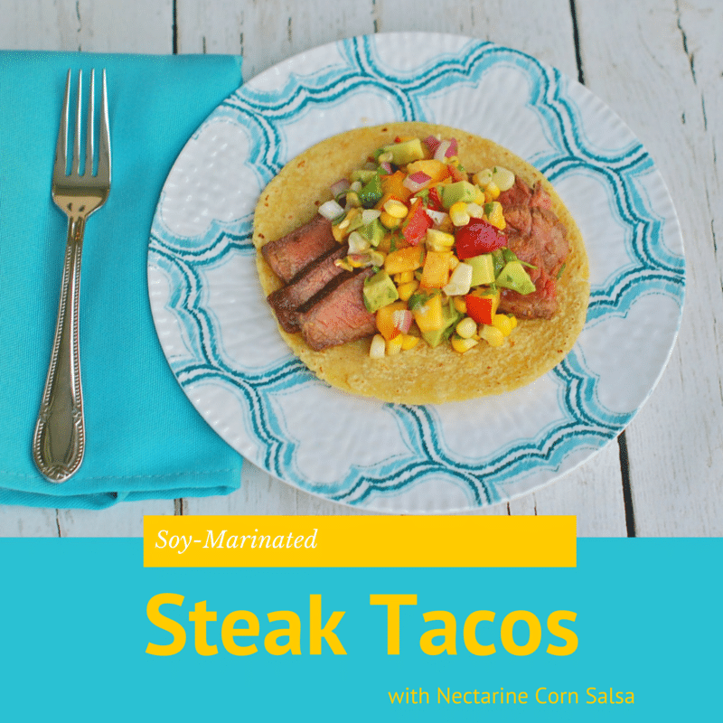 Enjoy the nutrition and health benefits of lean beef with this juicy soy-marinated flank steak taco topped with a colorful and nutritious nectarine corn salsa brimming with the flavors of summer @jlevinsonRD #sponsored