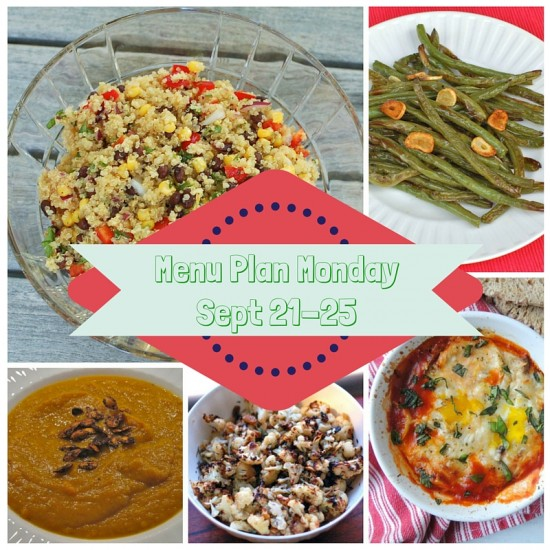 Menu Plan Monday Week of September 21-25, 2015 @jlevinsonRD