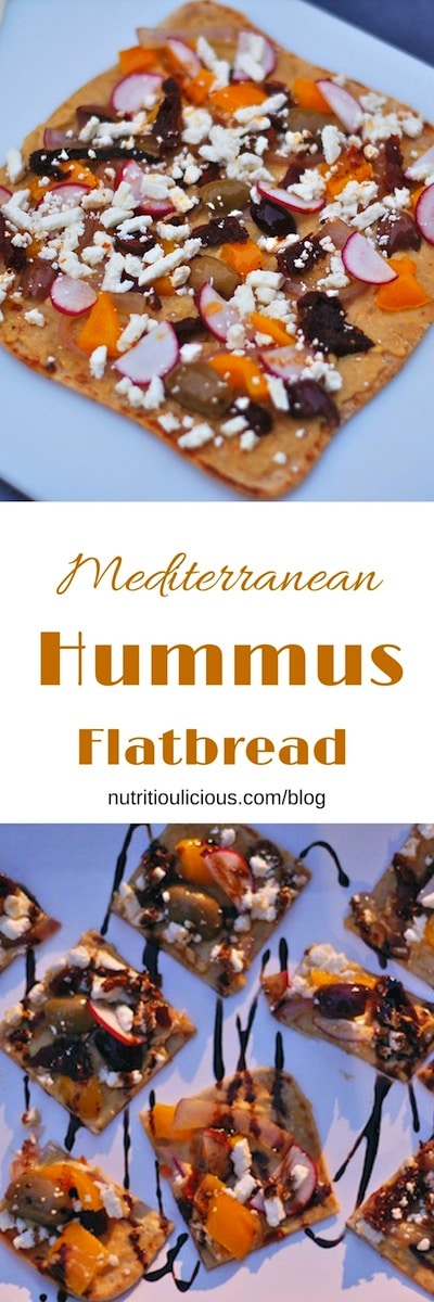 Whole wheat flatbreads topped with Mediterranean flavors including hummus, feta cheese, sun-dried tomatoes, and olives. Fun finger-food for a party or a quick and easy dinner at home. @jlevinsonRD