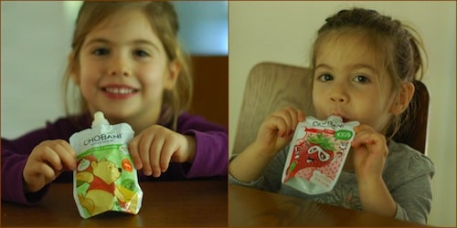 My twin daughters love Chobani Kids Greek Yogurt pouches as an afternoon snack! A good source of calcium, higher in protein, and lower in sugar than most kids' yogurts!
