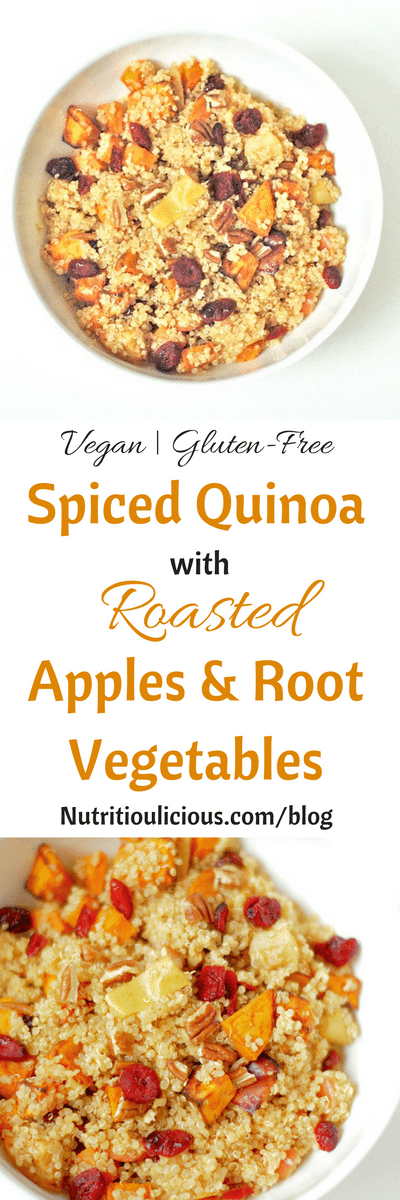 Spiced Quinoa with Roasted Apples & Root Vegetables | This quick cooking quinoa is infused with warm spices like cinnamon, coriander, and ginger, and full of nutrients from apples, carrots, and sweet potatoes. A healthy, flavorful vegan and gluten-free side dish or entree. Get the recipe @jlevinsonrd.