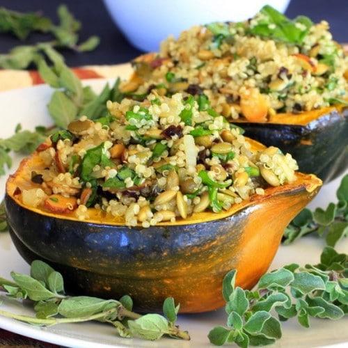 Acorn Squash Stuffed with Pumpkin Seed & Cherry Quinoa Pilaf @TheSpicyRD