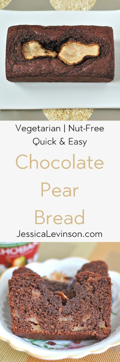 Rich chocolate pear bread is easy to make, moist, and delicious. Plus it's a good source of fiber and calcium. Get the vegetarian and nut-free recipe @jlevinsonrd.