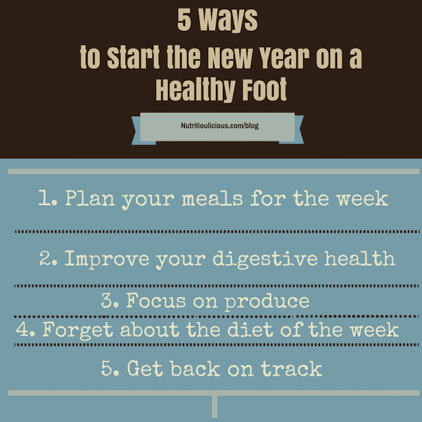 Start the New Year on a healthy foot with 5 easy changes you can make to stay healthy throughout the year – no resolutions required! @jlevinsonRD