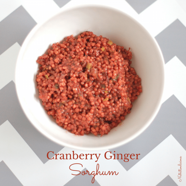 Cranberry Ginger Sorghum Salad | This sorghum salad is made by infusing whole-grain sorghum with fresh cranberries and ginger for a flavorful and nutrient-rich side dish. Serve it alongside your favorite protein for a balanced lunch or dinner. Get this gluten-free and vegan recipe @jlevinsonrd.