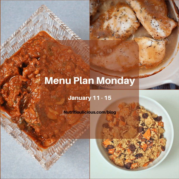 Nutritioulicious Menu Plan Monday week of January 11, 2016, featuring Homemade Tomato Sauce with Mushrooms @JlevinsonRD, Maple Dijon Chicken @BunsinmyOven, and Spiced Quinoa with Roasted Apples and Root Vegetables @JlevinsonRD