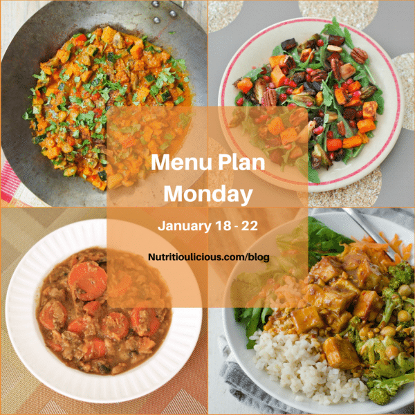 Nutritioulicious Menu Plan Monday week of January 18, 2016: Vegan Red Curry @rwallace4, Winter Roasted Root Vegetable Salad @jlevinsonRD, Peanut Tofu Buddha Bowl @delishknowledge, Hearty Beef & Vegetable Stew @JlevinsonRD