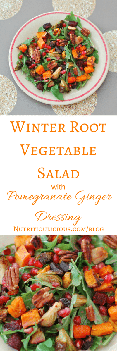 Winter Root Vegetable Salad with Pomegranate Ginger Dressing | Hearty winter root vegetables go from side dish to main dish in this seasonal salad. Pomegranate seeds add a burst of color and flavor, plus nutrition. Top with sliced chicken breast or a sprinkling of goat cheese for some added protein. Gluten-free, vegetarian, vegan, dairy-free. Recipe @jlevinsonrd