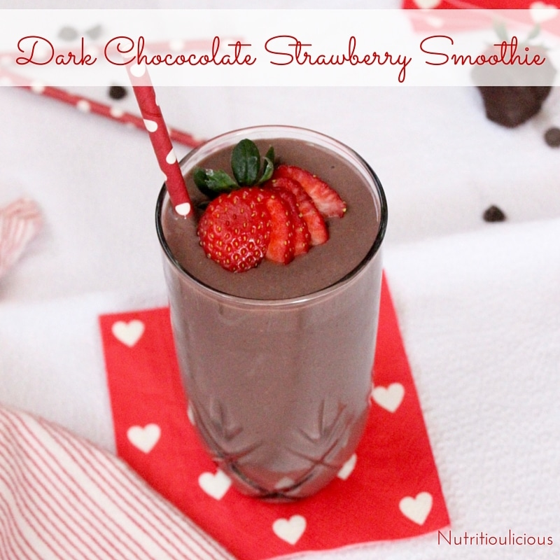 Dark chocolate, creamy greek yogurt, and sweet strawberries are the perfect combination in this frosty heart healthy Valentine's Day Dark Chocolate Strawberry Smoothie. Get the vegetarian and gluten-free recipe @jlevinsonrd.