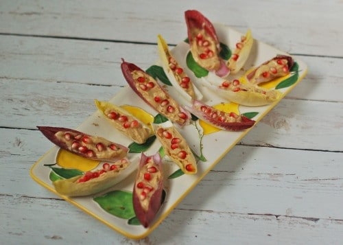 Lemon Hummus Endive Boats with Pomegranate Seeds @jlevinsonrd