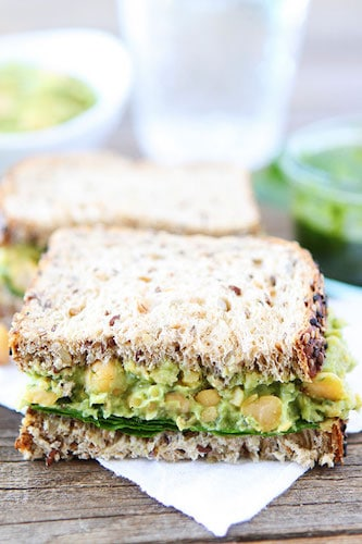 Smashed Chickpea Avocado and Pesto Salad Sandwich @ Two Peas & Their Pod