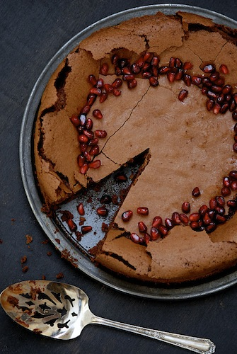 Flourless Chocolate Pomegranate Cake @Kumquat