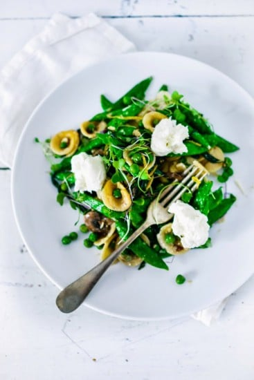 Spring Orecchiette with Burrata @FeastingatHome
