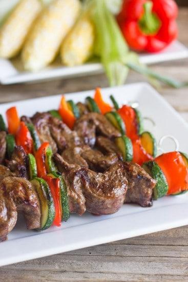 Grilled Flank Steak Kebabs @luvlylilkitchen