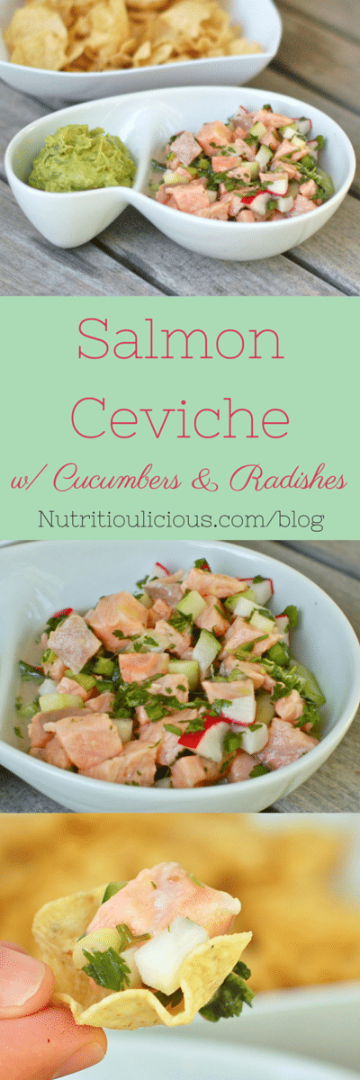 Tender salmon is paired with crunchy cucumbers and radishes in a zesty citrus marinade to make a ceviche that is easy to prepare and looks gourmet! @jlevinsonRD