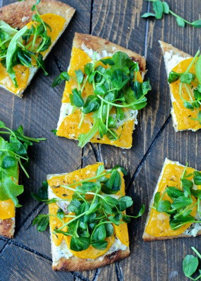 Butternut Squash Flatbread with Sweet Pea Greens @foodiephysician