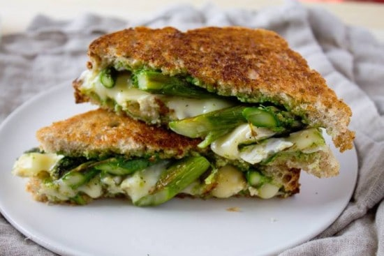 Asparagus and Brie Grilled Cheese with Arugula Pesto @KaraLydon