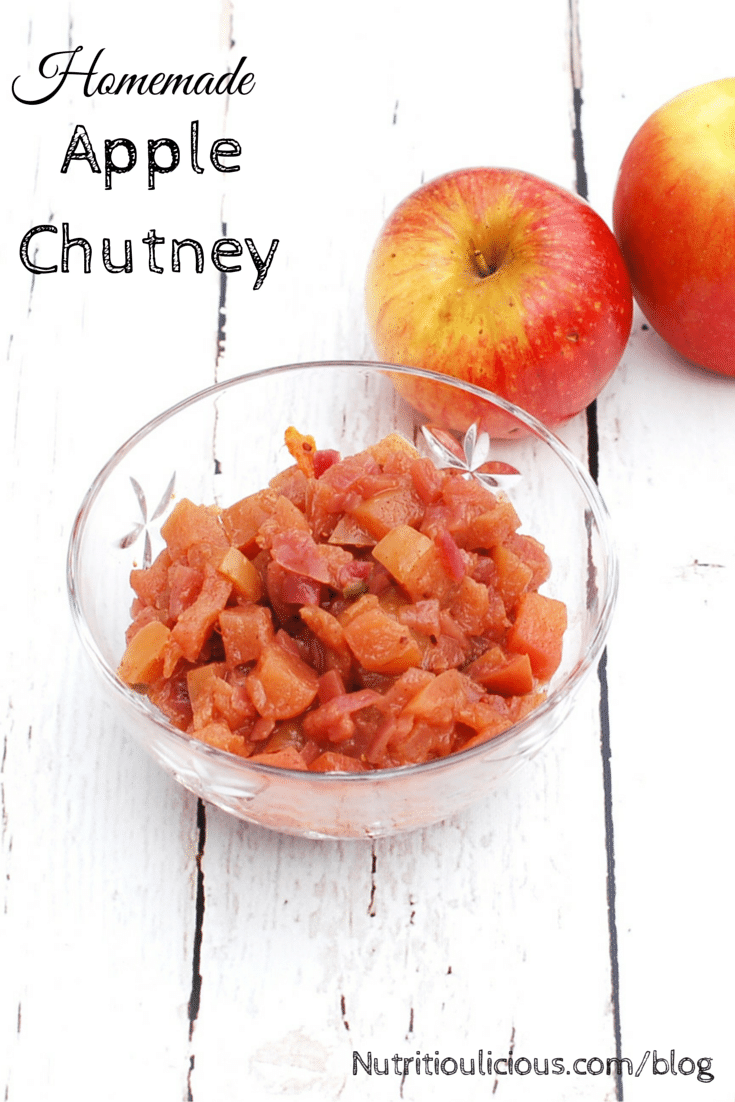 Sweet and spicy apple chutney is full of flavor and a delicious homemade condiment to serve with chicken, fish, and meat. It's also a great addition to a cheese plate. @jlevinsonrd
