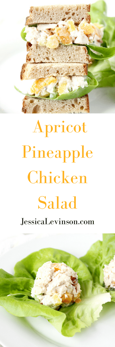 Apricot Pineapple Chicken Salad | Switch up your regular chicken salad with this version made with apricots and pineapple, lightened up with Greek yogurt. Get the recipe @jlevinsonrd.