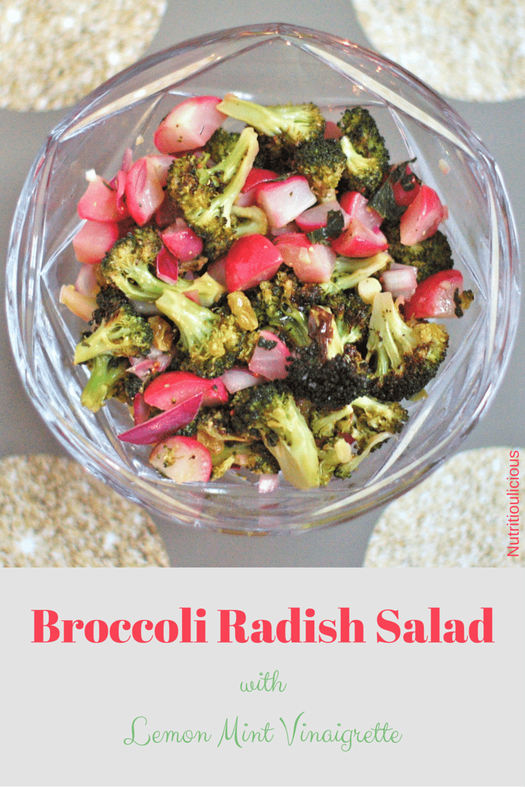 Roasted broccoli and radishes come together in this quick and easy weeknight salad that has some savory and sweet flavors and a bit of zing from the lemon mint vinaigrette.