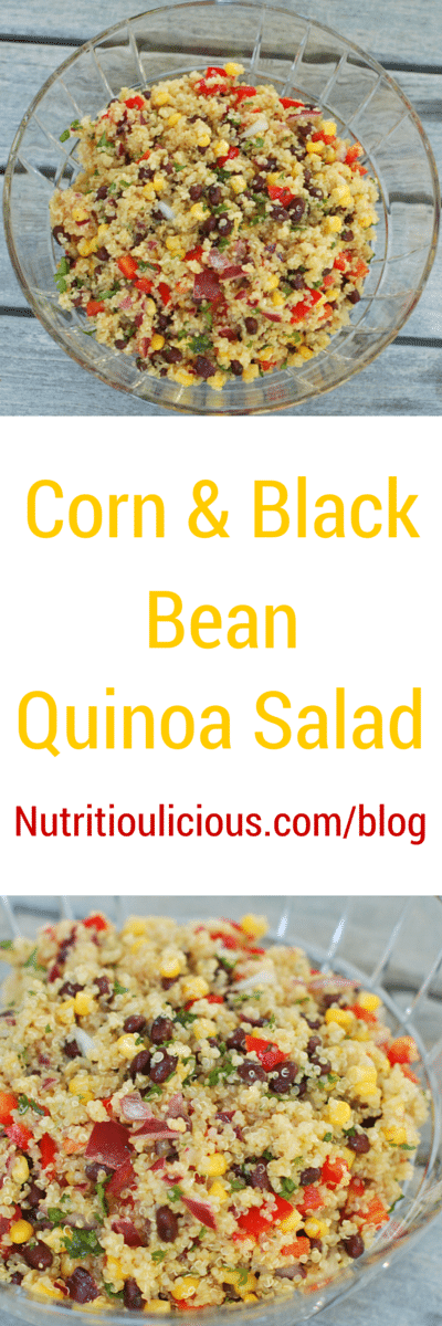 Corn and Black Bean Quinoa Salad | Corn and black beans join quinoa in a light, summery gluten-free salad that's great as a side dish or for lunch on it's own. Perfect for barbecue season and Cinco de Mayo celebrations. Get the gluten-free, vegetarian, and vegan-friendly recipe @jlevinsonrd.