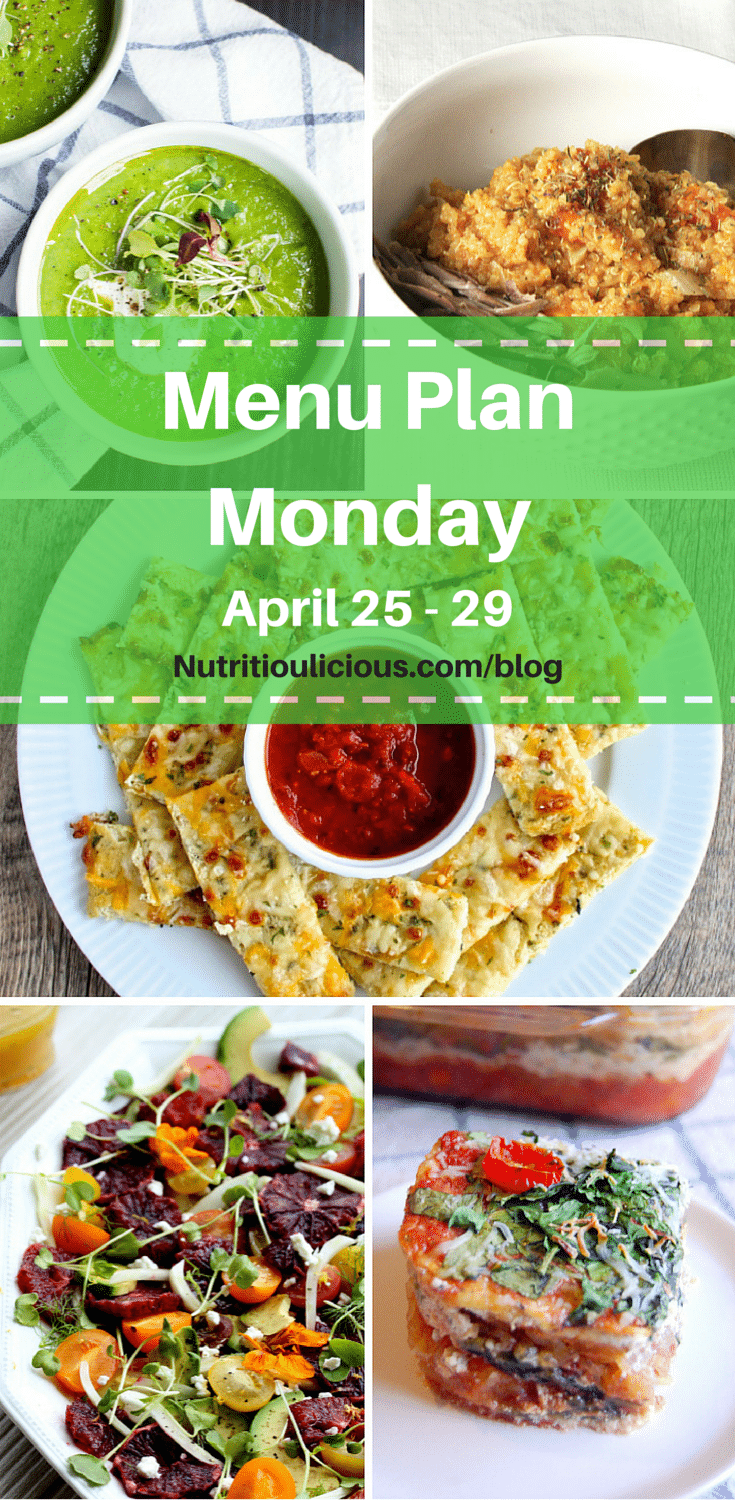Passover-friendly, Gluten-free Nutritioulicious Menu Plan Monday week of April 25, 2016 @jlevinsonrd including Creamy Roasted Asparagus Soup @trulynourished, Quinoa Risotto @koberwager, Cheesy Cauliflower Bread @foodiephysician, Citrus Salad with Fennel @jamievespa, Vegetarian Spaghetti Squash Lasagna Casserole @uprootkitchen
