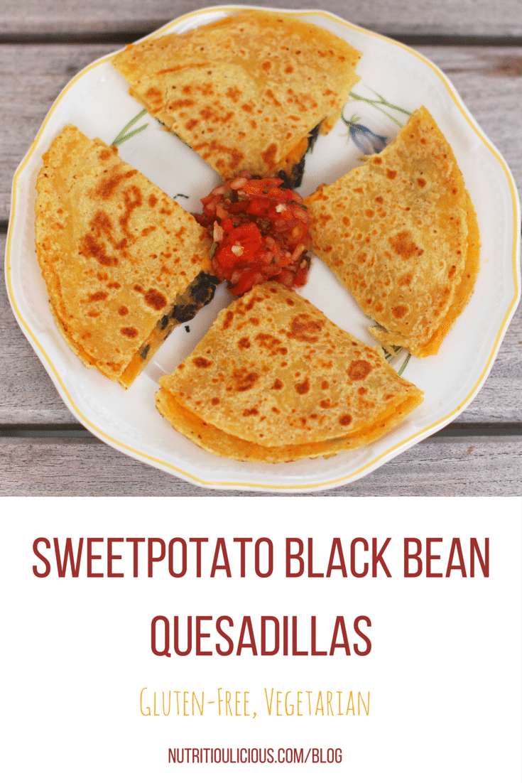 Creamy sweetpotato puree topped with garlicky black beans and spinach and a sprinkling of cheese make a sweet and savory filling for gluten-free, vegetarian quesadillas that the whole family will love, kids included. @jlevinsonrd