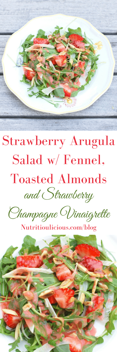 Sweet, juicy strawberries, crisp fennel, peppery arugula, and toasted crunchy almonds are tossed together in a sweet and elegant strawberry Champagne vinaigrette dressing for an easy weeknight side dish or festive appetizer for company. @jlevinsonrd