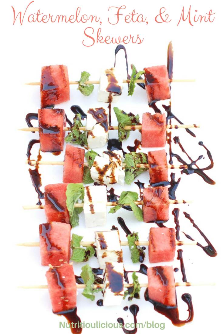 Watermelon, Feta, and Mint Skewers are the perfect easy, healthy, and flavorful appetizer for a summer party. Refreshing watermelon and mint complement salty feta in this sweet and savory pairing, finished off with a drizzle of decadent aged balsamic vinegar. @jlevinsonrd