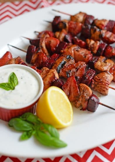 Chicken, Strawberry, Beet Kabobs @ My Menu Pal