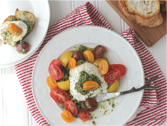 Creamy Burrata with Pesto and Tomatoes @ My Cape Cod Kitchen