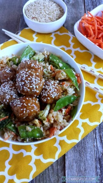 Spicy Asian Meatballs with Veggie Fried Rice @ Zen & Spice
